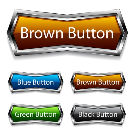 vector shiny chrome web buttons Vector