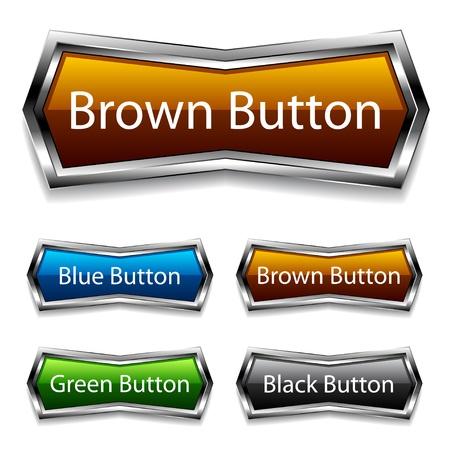 chrome button: vector shiny chrome web buttons