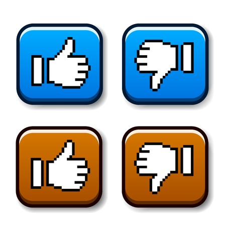 vector pixel thumb up and down buttons Vector