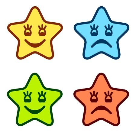 ojos llorando: vector positivos y negativos caras de estrellas