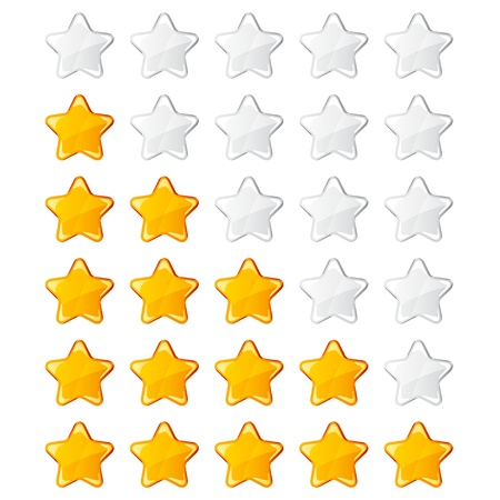 star shapes: vector yellow shiny rating stars Illustration