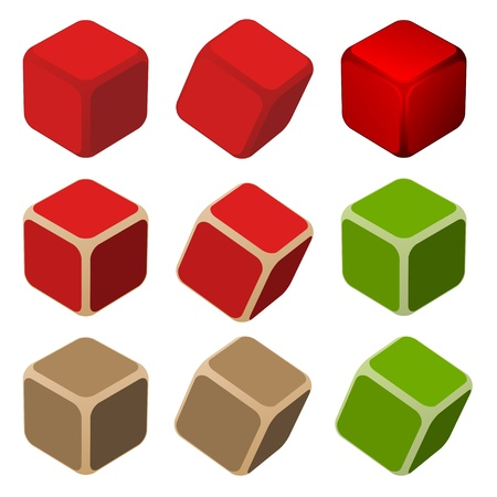 red cube: vector simple color cubes Illustration