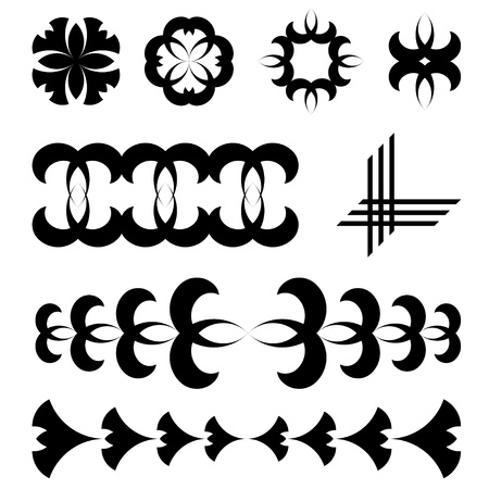 symmetrical design: vector black design tattoo elements