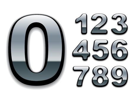 chrome letters: vector chrome numbers