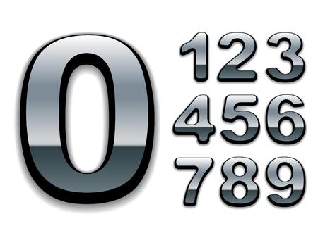 letras cromadas: vector de números de cromo