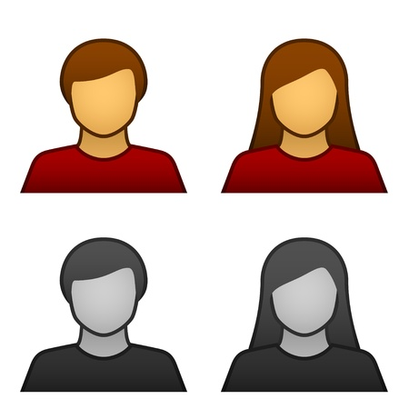 vector male female avatar icons Stock Vector - 11564460