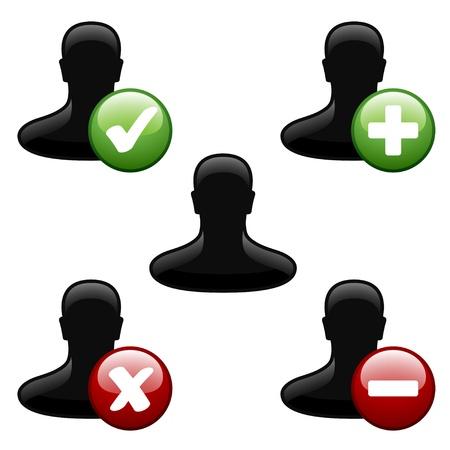agregar: vector de agregar eliminar iconos de usuario