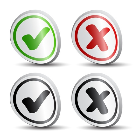 vector white checkmarks round labels Vector