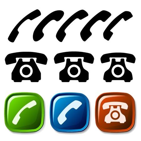 telefon: wektor stare ikony telefonów Ilustracja