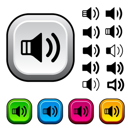 volume control: vector speaker icons and buttons