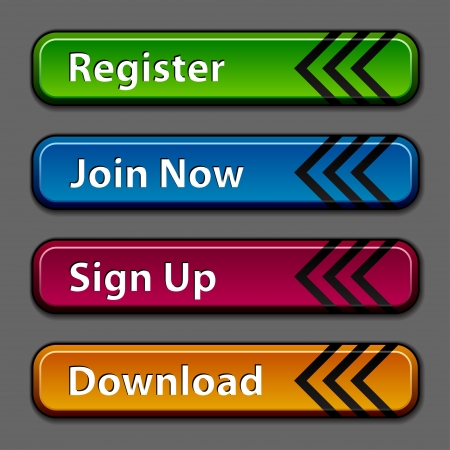 signup: vector dark colored buttons Illustration