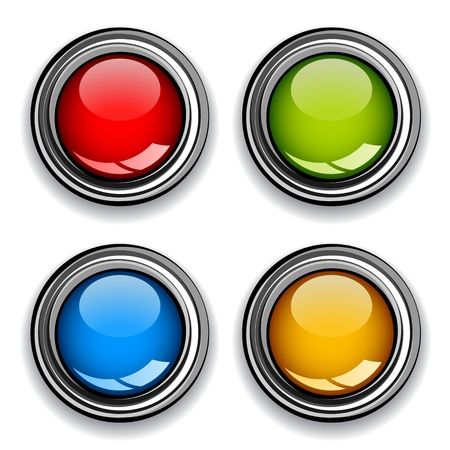 Vector blank chrome glossy buttons Vector