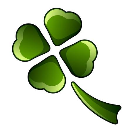 four leafed clover: vector de tr�bol de cuatro hojas brillantes