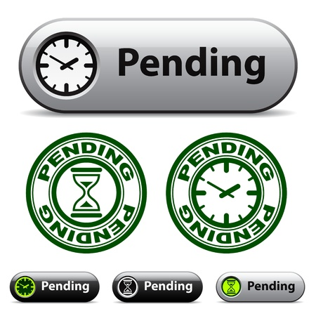 vector pending time buttons and stamps Vector