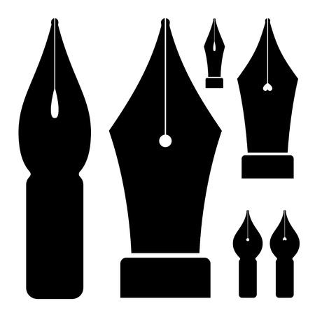 black ink: vector old ink pen nibs