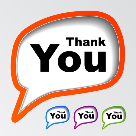 blue you: vector speech bubbles thank you