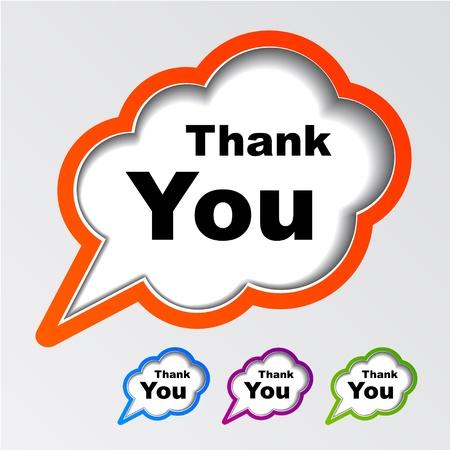 vector cloud speech bubbles thank you