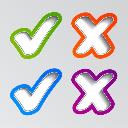 to tick: vectoriales elegantes pegatinas marca de verificación