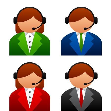 headset business: vector icone maschili di sostegno femminili