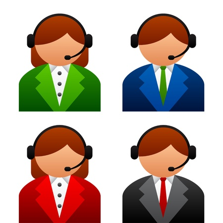 face with headset: vector male female support icons Illustration