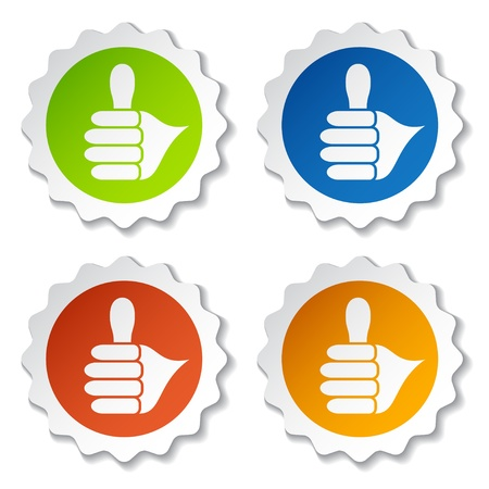 okay sign: vector thumb up rounded labels Illustration