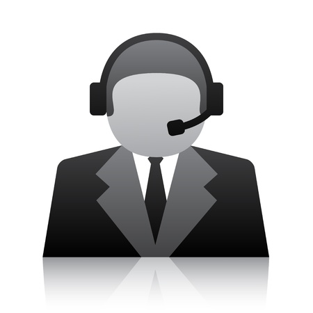 headset symbol: vector telephone user support icon Illustration
