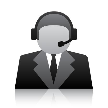 headset business: vettore di telefono dell'utente icona del supporto Vettoriali