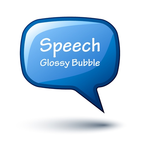 speech icon: vector blue glossy speech bubble Illustration