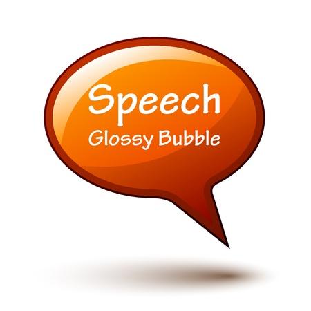 vector orange glossy speech bubble Vector