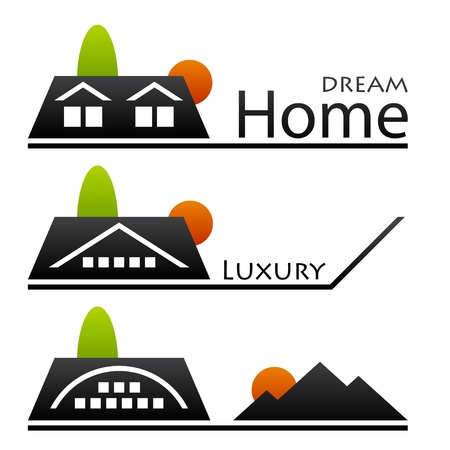 building real estate modern: vector house roof pictograms Illustration