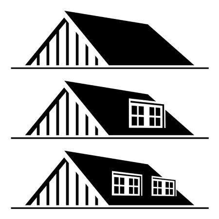 roof windows: vector de la silueta del techo negro de la casa
