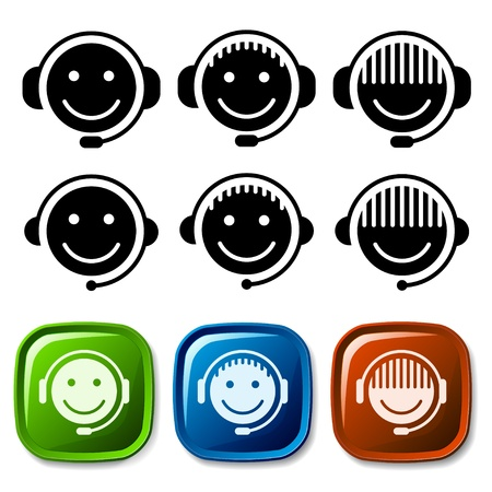call center agent: vector support icons Illustration