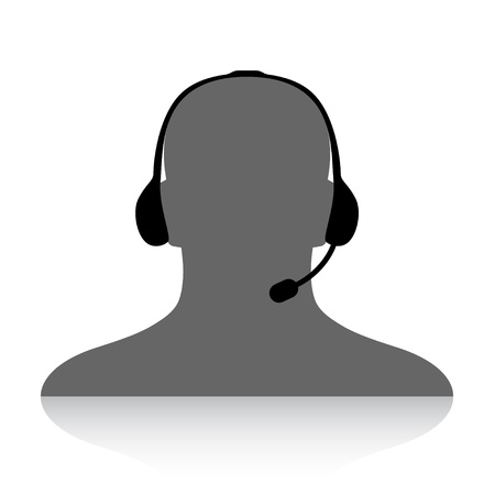 contact centre: vector phone support silhouette