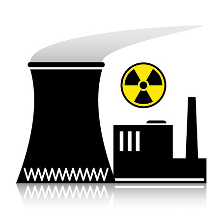 nuclear fission: vector nuclear power plant silhouette