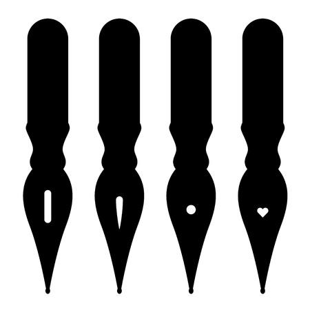 vector vintage ink pen nibs Vector