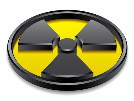 nuclear safety: vector 3d shiny radiation symbol