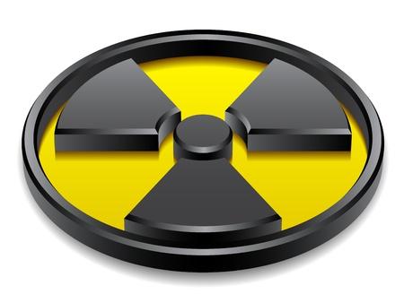 radioattivo: vettoriale 3d simbolo di radiazione lucida