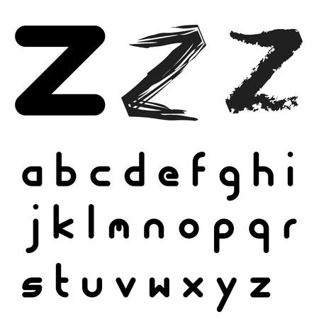 letter case: vector original font alphabet - easy apply any stroke