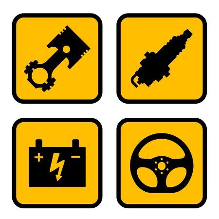 Vektor Autoteil Symbole Vektorgrafik