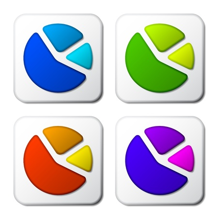 vector color pie chart icons Stock Vector - 11565812