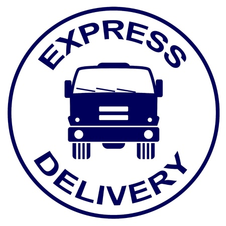 mail truck: vector express delivery stamp - truck silhouette Illustration