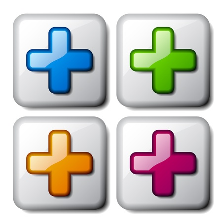 plus symbol: vector add plus glossy icons