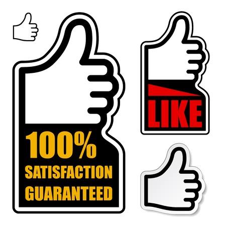 vector thumb up satisfaction guaranteed label Stock Vector - 11564734