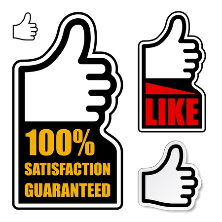 sign up icon: vector thumb up satisfaction guaranteed label