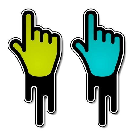 kursor: wektor płynący etykiet wskaźnik ręki