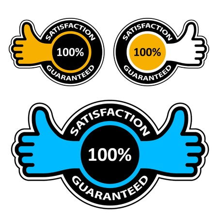 best choice: vector thumb up satisfaction guaranteed labels