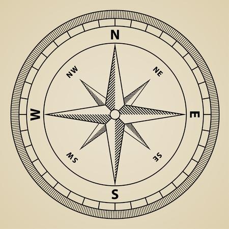 compas de dibujo: contorno vectorial brújula rosa de los vientos Vectores