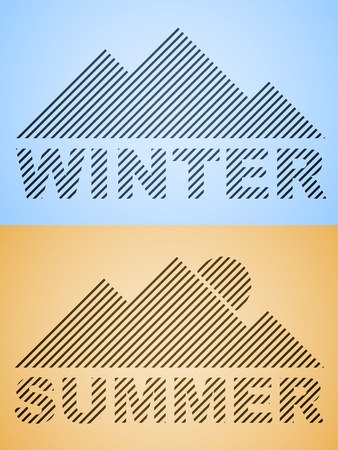 vector striped winter and summer mountain Vector