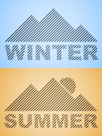vector striped winter and summer mountain Vector