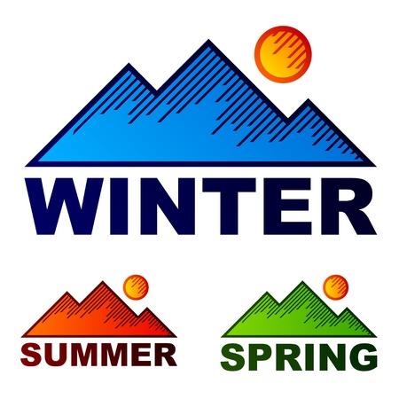 vector striped winter summer spring mountains Vector
